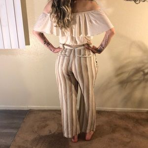 Free people linen striped cropped pants